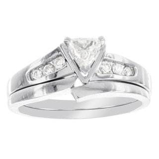 H Star 14k White Gold 3/8ct Trillion Cut Diamond Bridal Set (I-J, I2-I3)