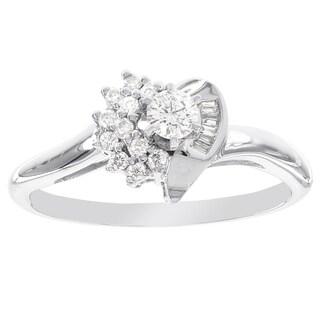 H Star 14k White Gold 1/4ct Heart Shaped Diamond Engagement Ring (I-J, I2-I3)