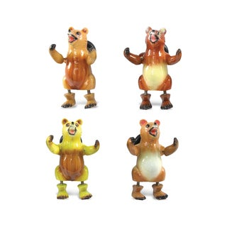 Multicolored Plastic Grizzly Bear Bobble Magnet