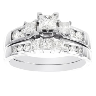 H Star 14k White Gold 1 1/6ct Princess Cut Diamond Bridal Set (I-J, I2-I3)