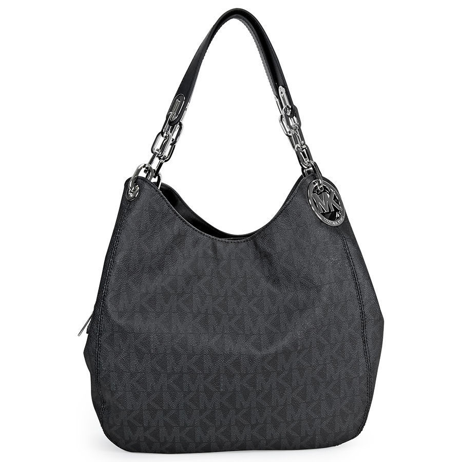 Michael Kors Signature Fulton Black Large Shoulder Handba...