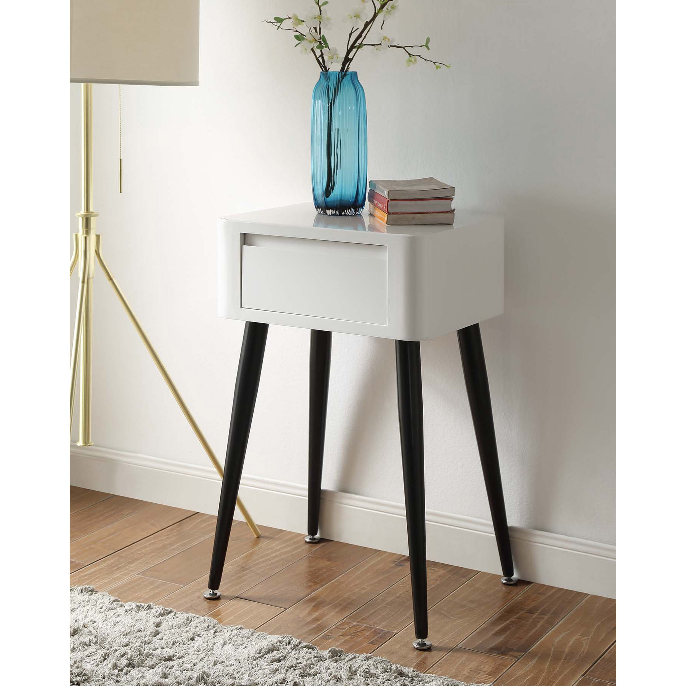 Black And White Mid Century Modern Tall Side Table On Sale Overstock 12439760
