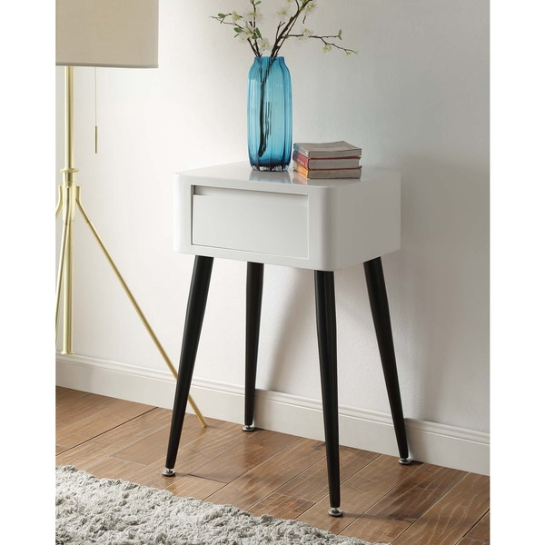 Black and white mid century modern tall side table free for Tall white side table