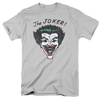 Batman/Retro Joker Short Sleeve Adult T-Shirt 18/1 in Silver