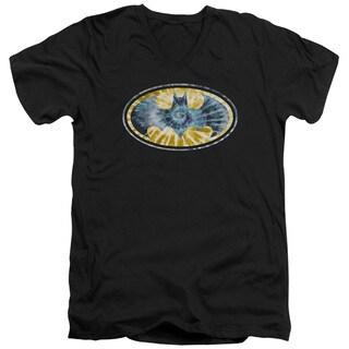 Batman/Tie Dye 3 Short Sleeve Adult T-Shirt V-Neck 30/1 in Black