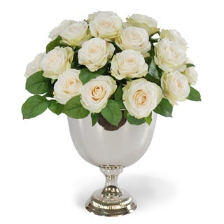 Jane Seymour Botanicals Tall White Rose Bouquet in 15-inch Silver Metal Urn