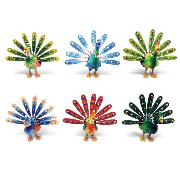 Puzzled Plastic Elegant Peacock Bobble Magnet Set