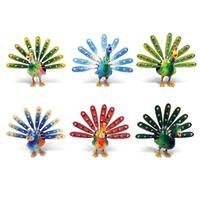 Puzzled Plastic Elegant Peacock Bobble Magnet Set