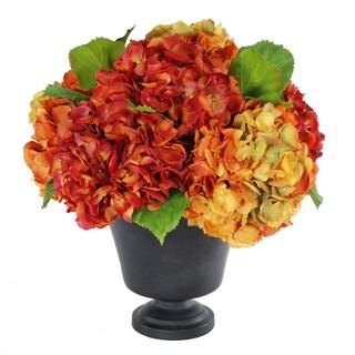 Jane Seymour Botanicals Orange/Burgundy Hydrangeas in Footed Brown 18-inch High Urn