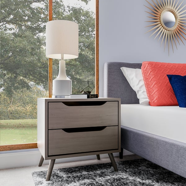 Furniture Of America Corrine Mid Century Modern 2 Drawer Nightstand