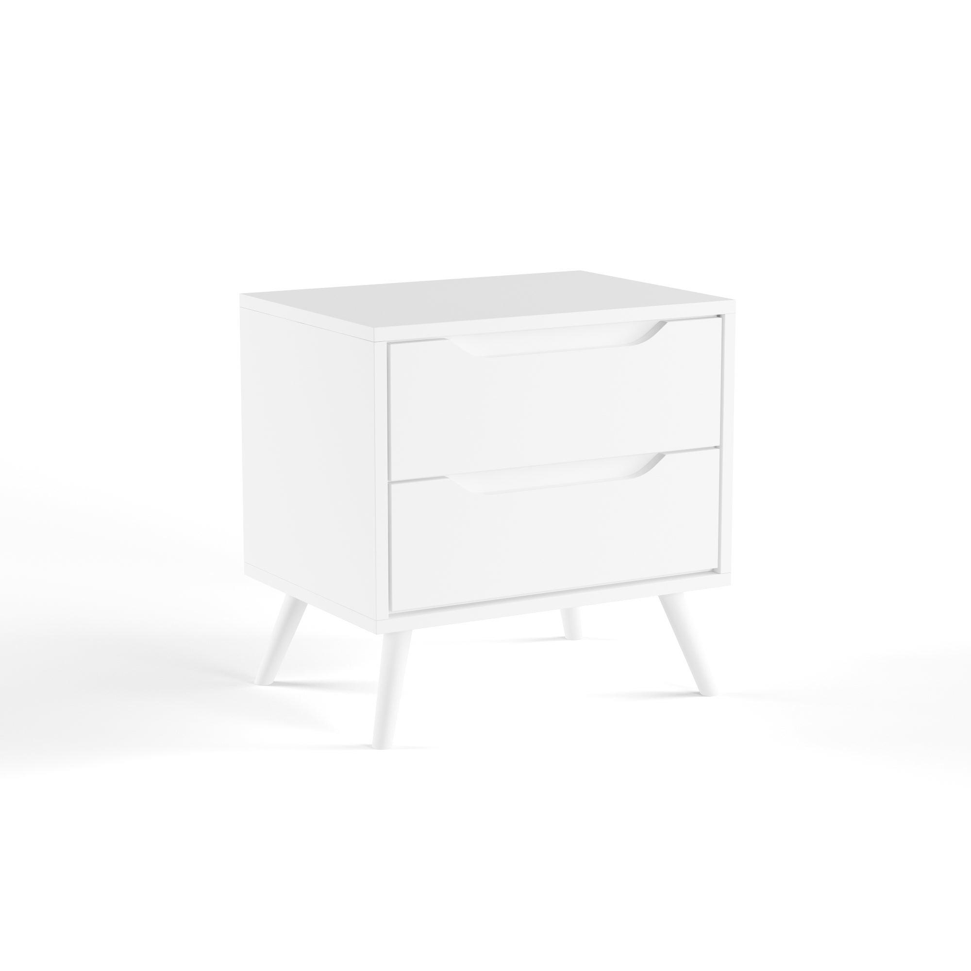 Furniture Of America Corrine Mid Century Modern 2 Drawer Nightstand  (Option: White