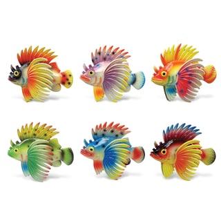 Puzzled Inc. Exotic Lionfish Multicolored Plastic Bobble Magnet (Set of 6)