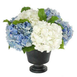 Jane Seymour Botanicals Blue/White 18-inch Hydrangeas In Footed Urn