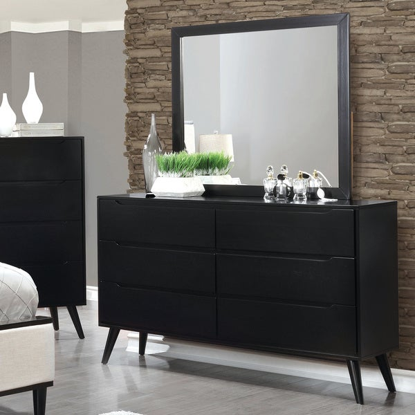 Furniture Of America Corrine 2 Piece Mid Century Modern Dresser And Mirror Set Free Shipping