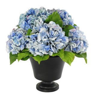 Jane Seymour Botanicals Blue Hydrangeas in 18-inch Brown Footed Urn