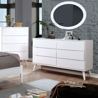 Furniture of America Corrine 2-piece Mid-Century Modern Dresser and Oval Mirror Set