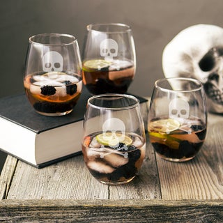 Skull + Crossbones 21-ounce Stemless Wine Glasses (Set of 4)