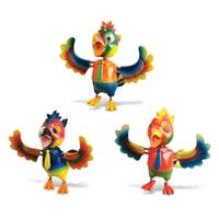 Puzzled Plastic Parrot Bobble Magnet (Set of 3)