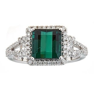 Anika and August 14k White Gold Green Tourmaline and Diamond Ring
