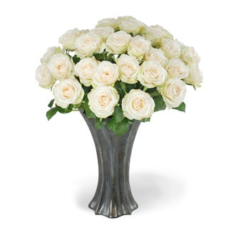Jane Seymour Botanicals White 22-inch Tall Rose Bouquet In Graphite Vase