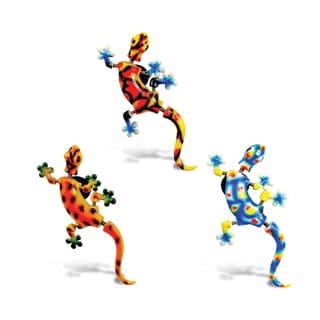 Puzzled Inc. Gecko Multicolored Plastic Bobble Magnet (Set of 3)
