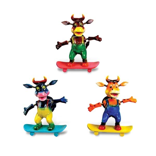 Puzzled Plastic Skateboarding Bull Bobble Magnet Set
