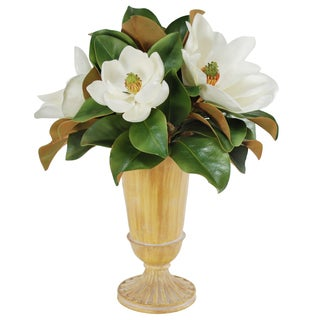 Jane Seymour Botanicals Magnolias With Foliage In 21-inch Tall Footed Urn Tall