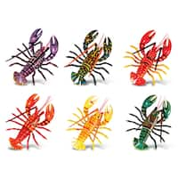 Lobster Multicolor Plastic Bobble Magnets (Pack of 6)