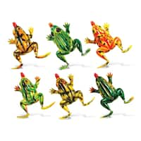 Puzzled Plastic Frog Bobble Magnet (Set of 6)