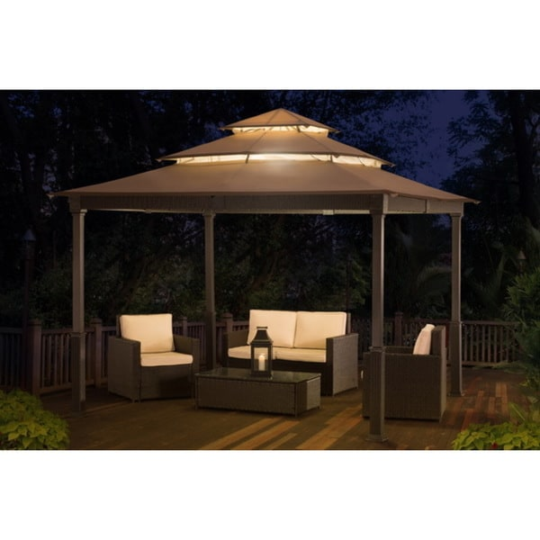 Shop Sunjoy V10 10 Feet Wide X 10 Feet Long Wicker Gazebo