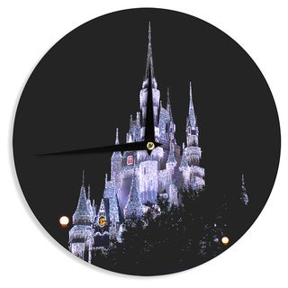 KESS InHouse Philip Brown 'Frozen Castle' Purple Photography Wall Clock