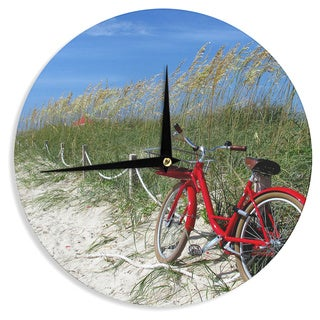 KESS InHouse Philip Brown 'A Day At The Beach' Red Black Wall Clock