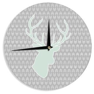 "Kess InHouse Pellerina Design ""Winter Deer"" Gray Green Wall Clock 12"""