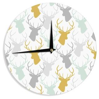 "Kess InHouse Pellerina Design ""Scattered Deer White"" Gold Green Wall Clock 12"""