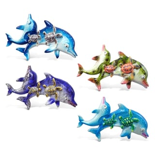Puzzled Dolphins With Sea Turtles Plastic Bobble-eye Magnet Set