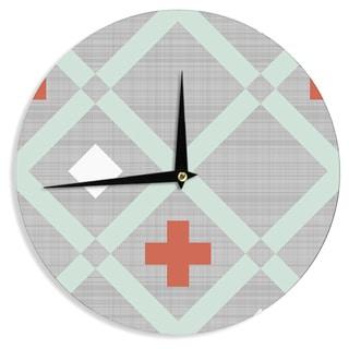 "Kess InHouse Pellerina Design ""Mint Lattice Weave"" Gray Mint Wall Clock 12"""