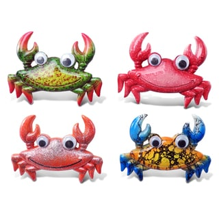 Puzzled Plastic Crab Bobble Eye Magnet (Set of 4)