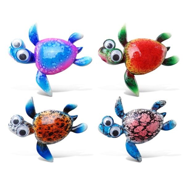 Puzzled Inc. Sea Turtle 2 Multicolor Plastic Bobble-Eye Magnet (Pack of 4)