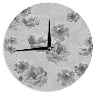 "Kess InHouse Pellerina Design ""Lace Peony in Gray"" Grey Floral Wall Clock 12"""