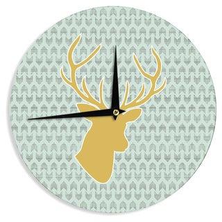 """Kess InHouse Pellerina Design """"Golden Deer"""" Yellow Green Wall Clock 12"""""""