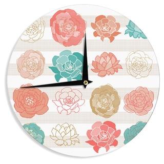 "Kess InHouse Pellerina Design ""Flower Square"" Multicolor Floral Wall Clock 12"""
