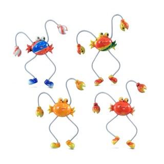 Puzzled Inc. Crab Multicolored Plastic Springy Magnet (Set of 4)