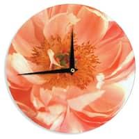 "Kess InHouse Pellerina Design ""Blushing Peony"" Coral White Wall Clock 12"""