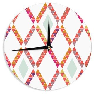KESS InHouse Pellerina Design 'Aztec Diamonds' Orange Geometric Wall Clock
