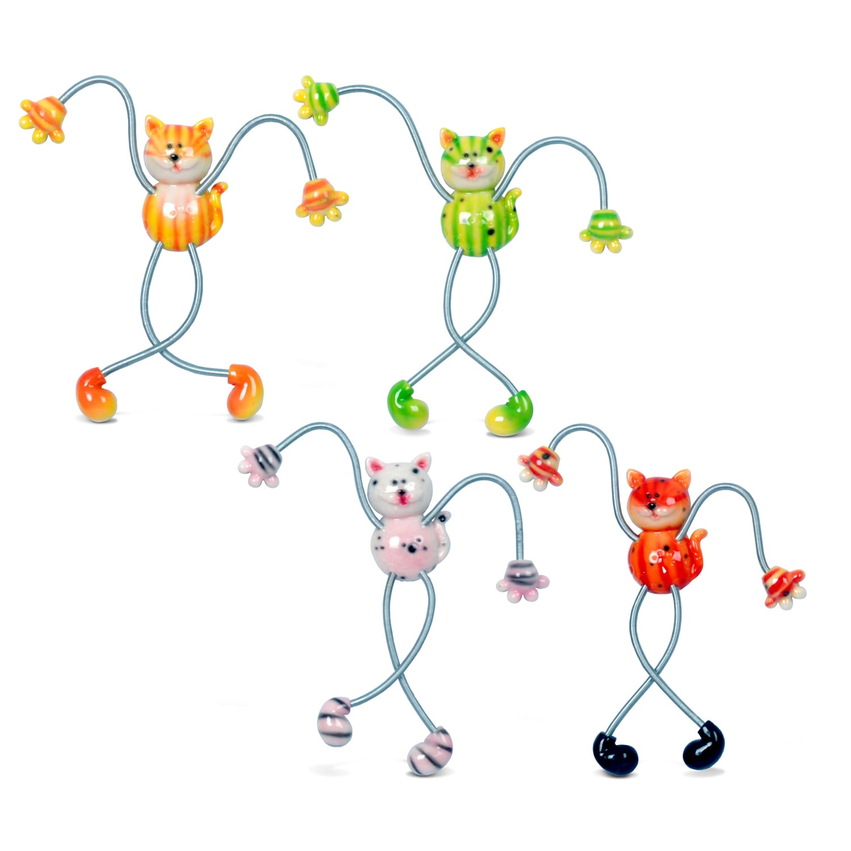 Puzzled Cat Multicolored Plastic Springy Magnet (Set of 4...