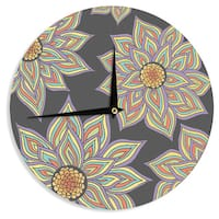 KESS InHouse Pom Graphic Design 'Floral Rhythm in the Dark' Wall Clock