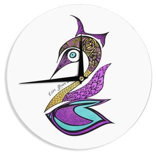 KESS InHouse Pom Graphic Design 'Dreams Swan' Wall Clock