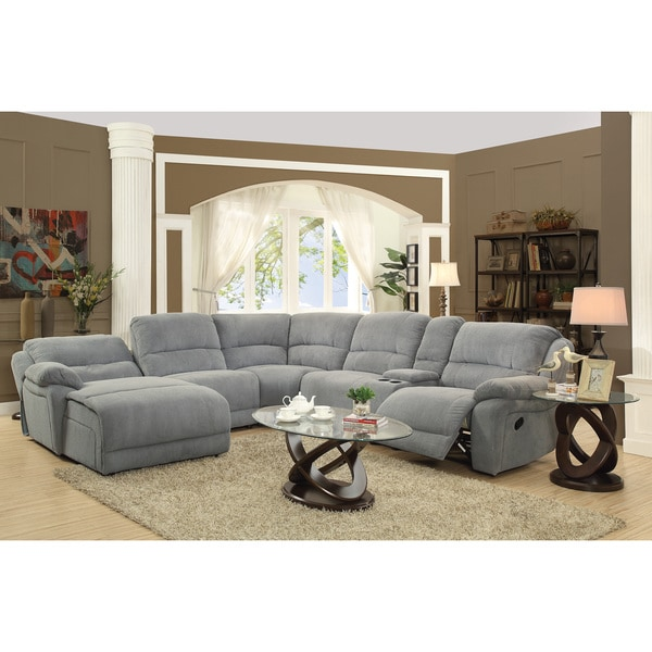 Coaster company grey microfiber reclining sectional with for Imagenes de sofas