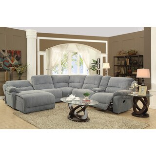 Grey Microfiber Reclining Sectional with Storage