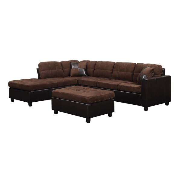 Astonishing Shop Coaster Company Chocolate Velvet Vinyl Tufted Sectional Machost Co Dining Chair Design Ideas Machostcouk